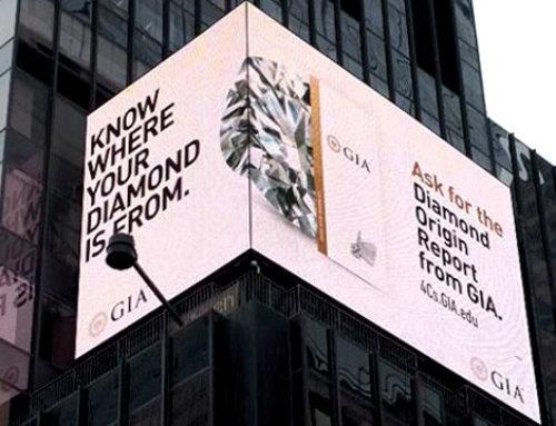 Le GIA fait de la publicité pour ses rapports d'origine sur Times Square